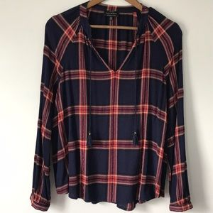 Lucky Brand crepe blue/red/cream plaid top XL